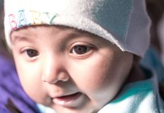 Closeup of the eye of a cute Indian baby royalty free stock photo
