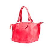 Beautiful color of pink leather fashion hand bag isolated white Stock Image