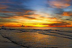 Beautiful color sunrise. On Nava Gorn beach, Prachuap Khiri Khan country Thailand Stock Photo