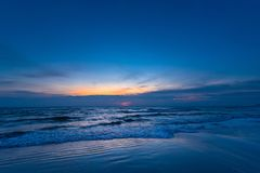 Beautiful color of the sunrise over sea background, ocean in sou. Thern Thailand Royalty Free Stock Photos