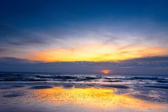 Beautiful color of the sunrise over sea background, ocean in sou. Thern Thailand Royalty Free Stock Images