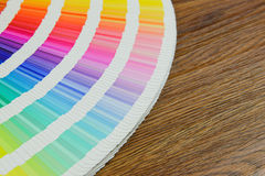 Beautiful color swatches book on table Stock Photography