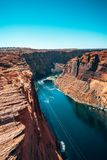 Beautiful Colorado River from Glen Canyon Dam in Grand Canyon. Beautiful View from above royalty free stock image