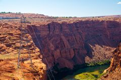 Beautiful Colorado River from Glen Canyon Dam in Grand Canyon. Beautiful View from above stock image