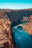 Beautiful Colorado River from Glen Canyon Dam in Grand Canyon. Beautiful View from above stock photos