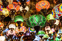 Beautiful Colored Arabian Lamps In Oriental Grand Bazaar Royalty Free Stock Images
