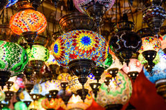 Beautiful Colored Arabian Lamps In Oriental Grand Bazaar Royalty Free Stock Image