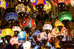 Beautiful Colored Arabian Lamps In Oriental Grand Bazaar Royalty Free Stock Photography