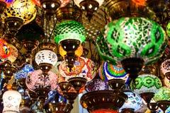 Beautiful Colored Arabian Lamps In Oriental Grand Bazaar Stock Photography