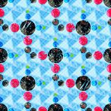 Beautiful colored circles on a blue background geometric seamless pattern. (vector eps 10 Royalty Free Stock Photo