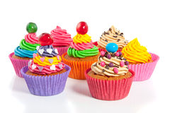 Beautiful colored cupcakes Royalty Free Stock Photos
