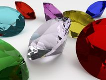 Beautiful colored diamonds. Colorful diamonds set on a white plane, a sample of these beautiful jewels 3d modeling echoed by computer stock illustration