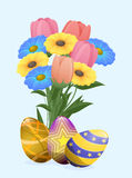 Beautiful Colored Eggs and Festive Spring Flowers Royalty Free Stock Image