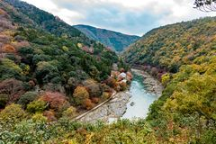 Beautiful colored forests along the Katsura River in Arashiyama. Top view from ogetsukyo bridge the tourism can see beautiful landscape of the Katsura river and Royalty Free Stock Image