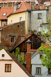 Beautiful colored houses on the hill in zagreb, cr. Beautiful colored houses with red tile roofs on the hill in zagreb, croatia Stock Images