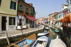 Beautiful colored houses of the old fishermans  city Burano in t Royalty Free Stock Photo