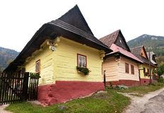 Beautiful colored houses in vlkolinec village Royalty Free Stock Photo