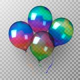Multi-colored shimmering transparent inflatable balls. Vector illustration. stock illustration