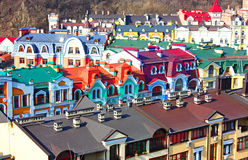 Beautiful colored little buildings of Podol Stock Photos