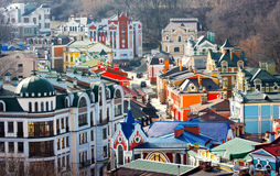Beautiful colored little buildings of Podol. In Kiev taken in spring 2010, Ukraine Royalty Free Stock Photos