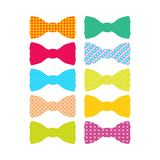 Beautiful colored men`s bow ties with different patterns. stock illustration
