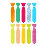 Beautiful colored men`s ties with different patterns. stock illustration