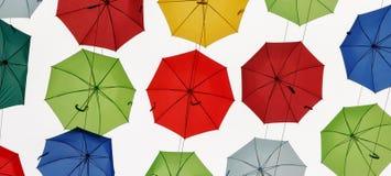 Beautiful, colored and multicolored umbrellas in the sky. Colored umbrellas in the sky stock images