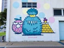 Beautiful colored Mural graffiti in Meriken Park, Kobe royalty free stock photography