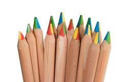 Beautiful colored pencils with multicolored tip stock photos