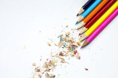 Colored pencils on a white background royalty free stock photography
