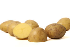 Beautiful colored potatoes. Potato on a white background Royalty Free Stock Photos