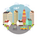 Beautiful Colored Vector City Street Design Stock Photo
