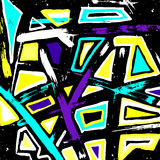 Beautiful colorful abstract graffiti polygons on a black background vector illustration Royalty Free Stock Photos