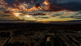 Beautiful, Colorful Aerial Photo of Sunset looking West. With blue, purple, yellow and orange Stock Photography