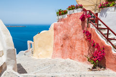Beautiful colorful architecture on Santorini island, Greece. Summer landscape with sea view Royalty Free Stock Images