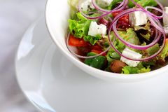 Beautiful colorful assorted salad in white plate. Vegetarian fresh beautiful colorful assorted salad in white plate on the table with white tablecloth Stock Image