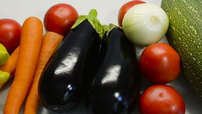 Beautiful colorful assorted vegetables. On the table stock footage