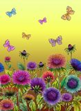 Beautiful colorful aster flowers and bright butterflies on yellow background. Seamless floral pattern. Watercolor painting. Hand drawn and painted illustration Royalty Free Illustration