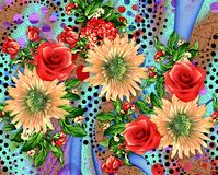 Beautiful colorful background design with flowers. Textile print design Stock Images