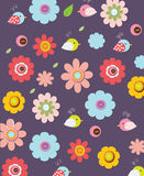 Beautiful colorful background. With graphic flowers and birds on a red background can be used as a print fabric, bags, t-shirts Royalty Free Stock Photos
