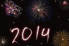 Beautiful colorful background for new years with fireworks. Beautiful colorful background for new years with shining letters effect and fireworks Stock Images