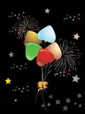 Beautiful Colorful Balloons. On black background Royalty Free Stock Photos