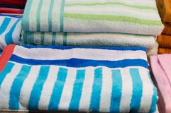 Beautiful colorful bath towels are on sale Royalty Free Stock Photos