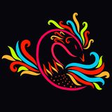 Beautiful colorful bird on a black background, a miracle vector illustration