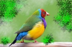 A beautiful colorful bird on the trunk of a tree. Illustration of a beautiful colorful bird on a tree trunk. Around we see leaves and a haze that fills the scene vector illustration