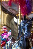 Fairy colorful carousel with toy horse on Republic`s square, Florence, Tuscany, Italy. stock photo