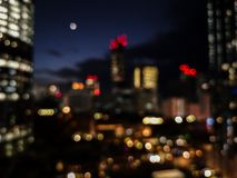 Beautiful colorful bokeh of the city skyline and streets at night time royalty free stock photography