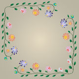 Beautiful colorful bright flowers border Stock Image