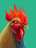 Beautiful colorful and bright polygon rooster. Royalty Free Stock Photos