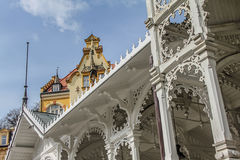 Beautiful colorful buildings, colonnade and street in Karlovy Vary Stock Photography